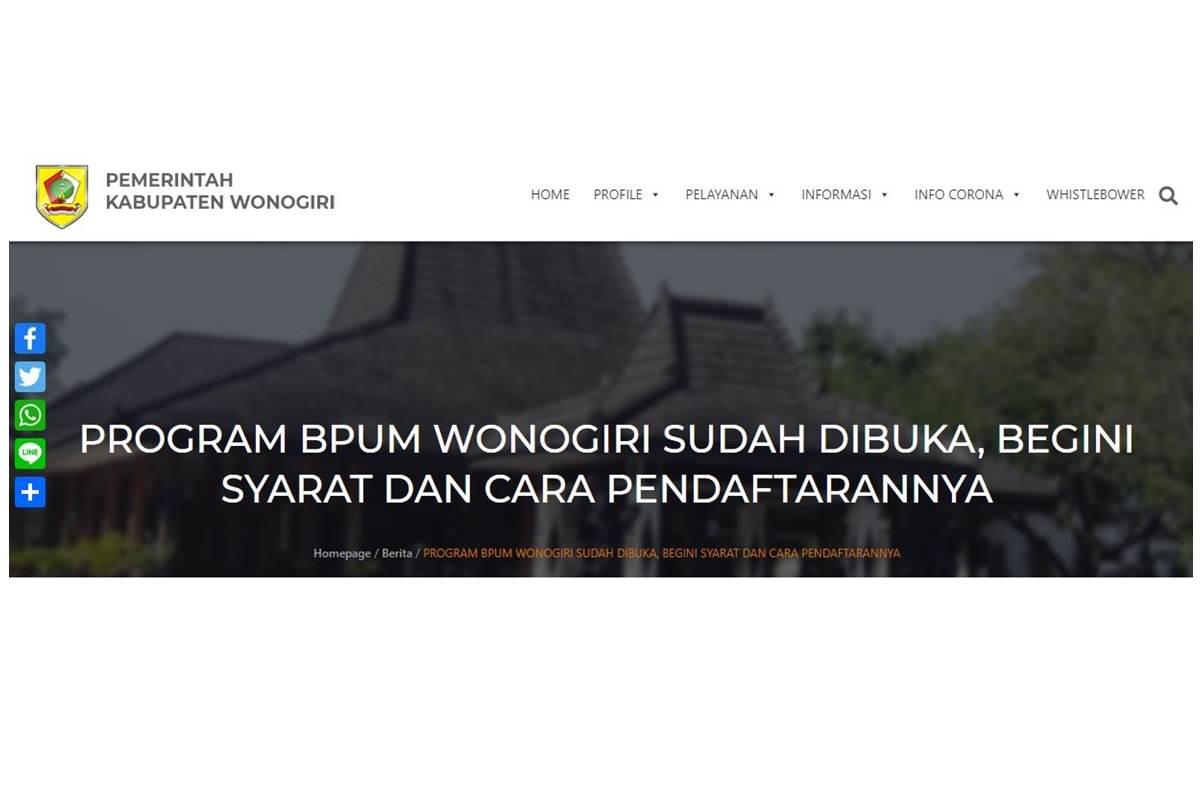 cara daftar bantuan BPUM Wonogiri 2021